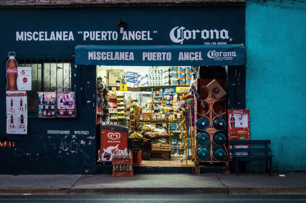 Oaxaca Mexico street photography of colorful buildings by Joseph Kiely