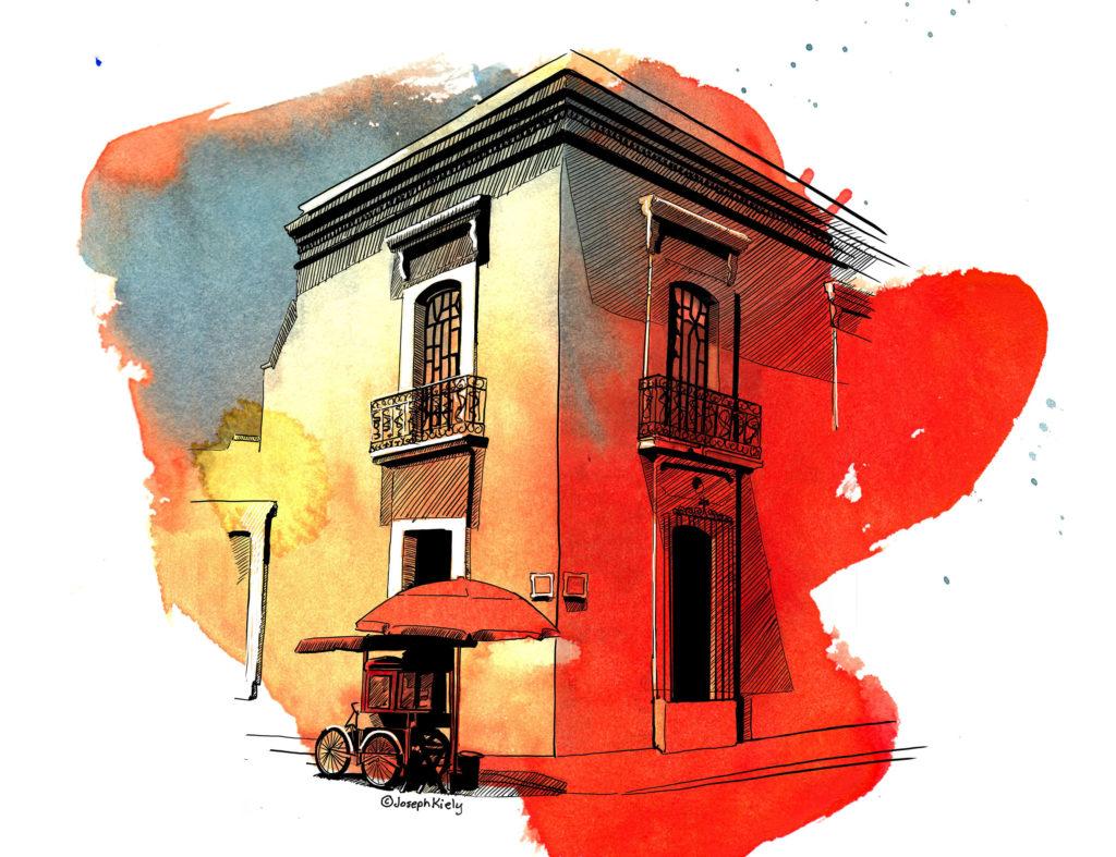 Watercolor sketch of a colonial building in Oaxaca Mexico