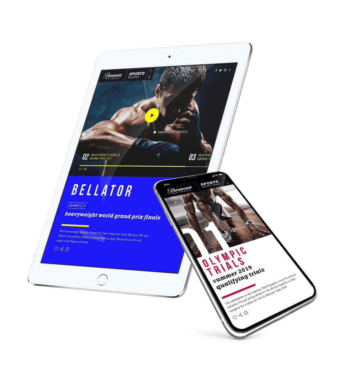 Paramount Network video app on a tablet and iPhone with Bellator Mixed Martial Arts and the Olympics
