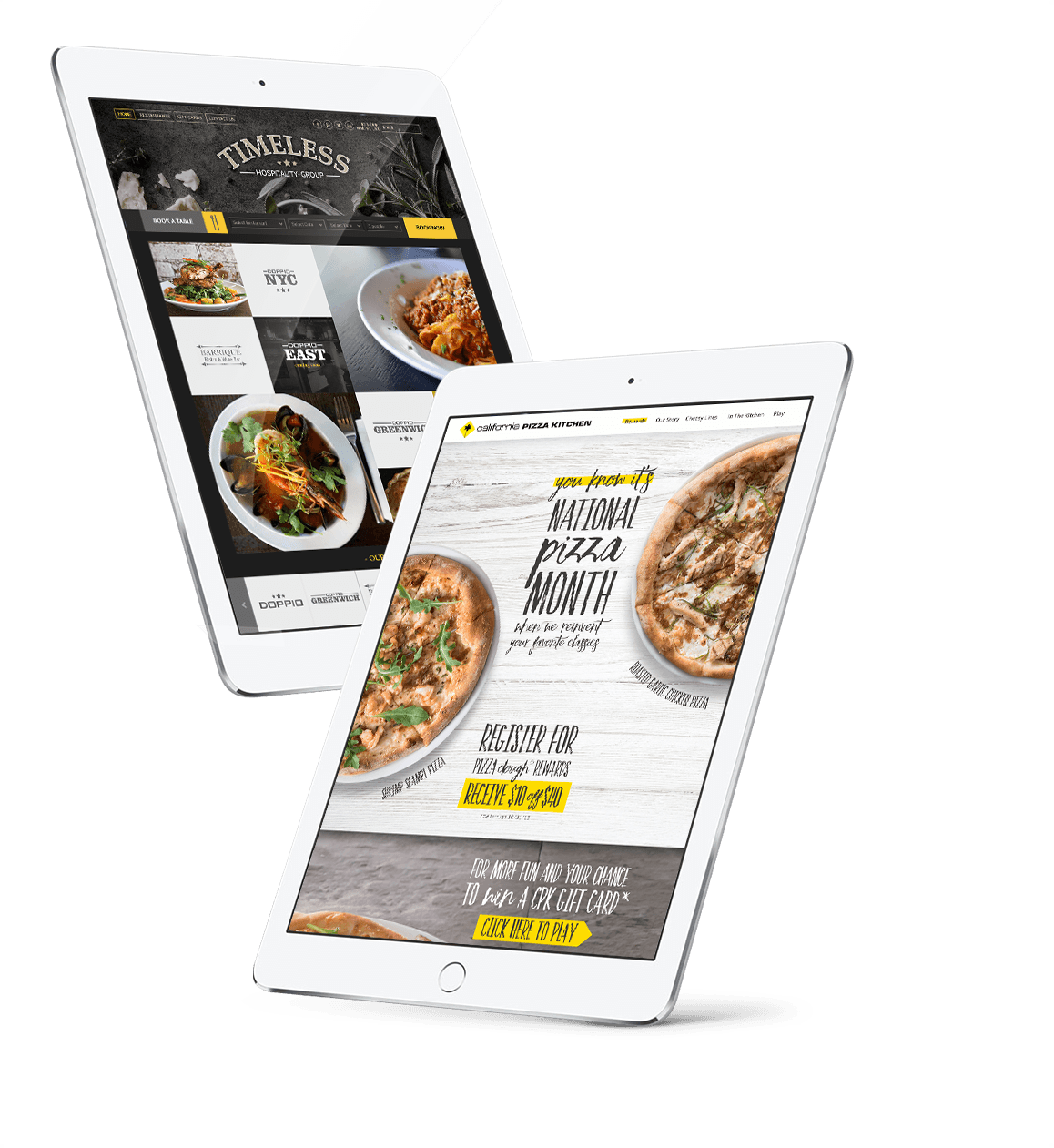 Restaurant website design in an ipad and California Pizza Kitchen website development in a tablet
