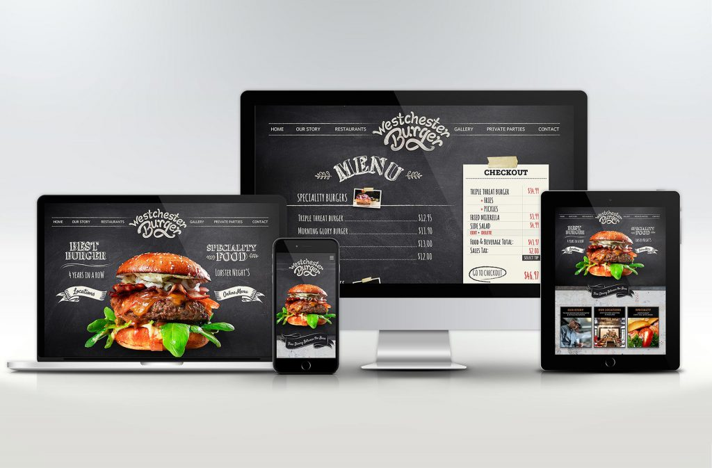 Burger restaurant website with a online menu designed for mobile and large screens