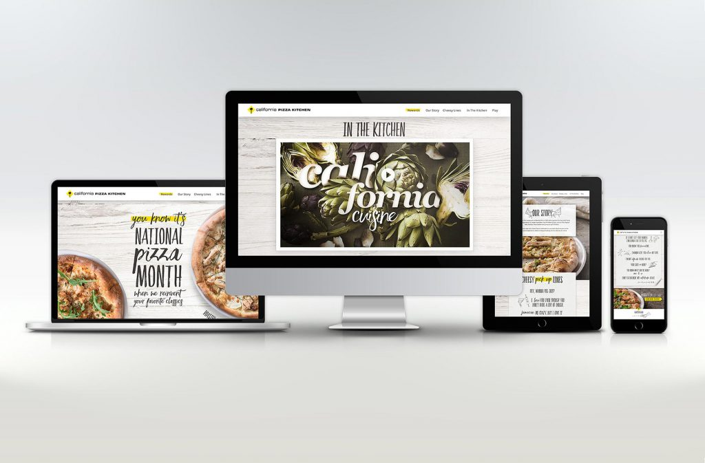 California Pizza Kitchen digital campaign in computers and smartphones with pizza and a video