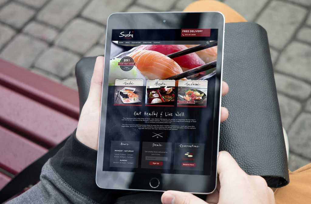 Tablet with a sushi website design