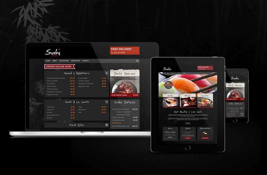 Sushi Restaurant website design with online menu and online ordering