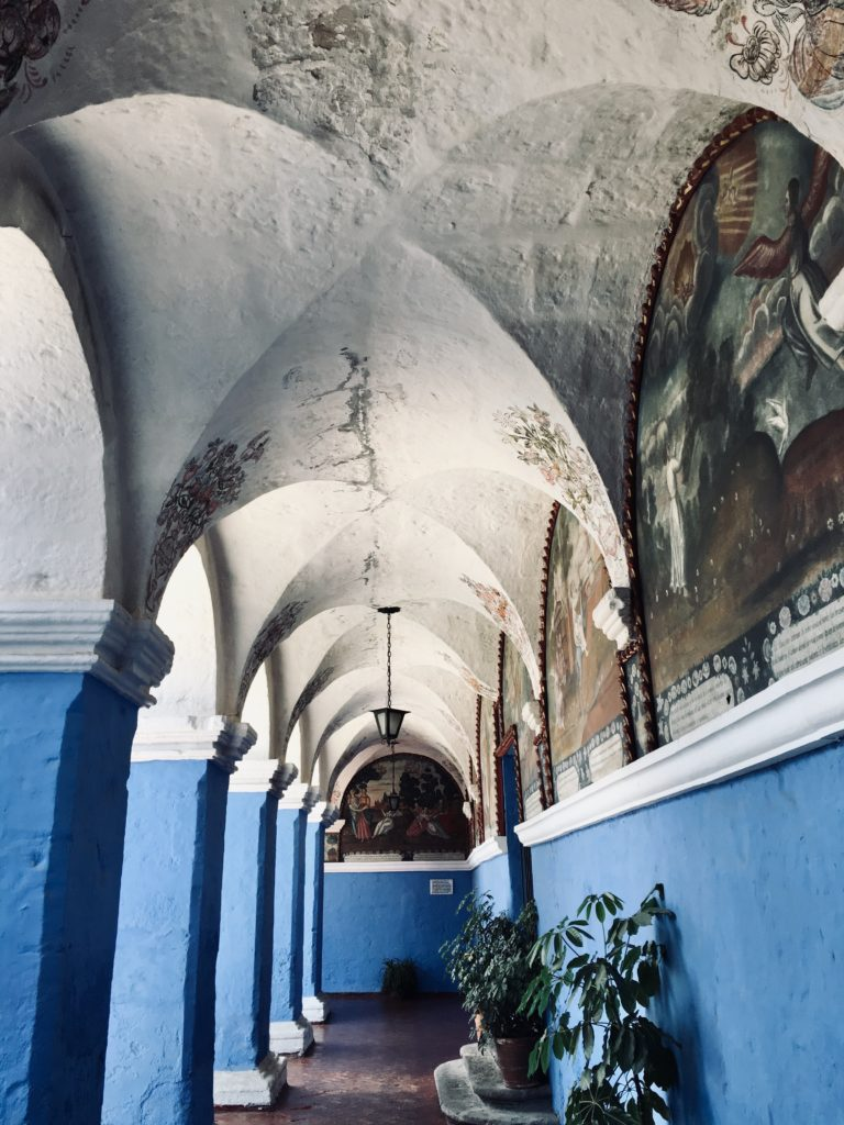 Santa Catalina Monastery blue walls and frescos