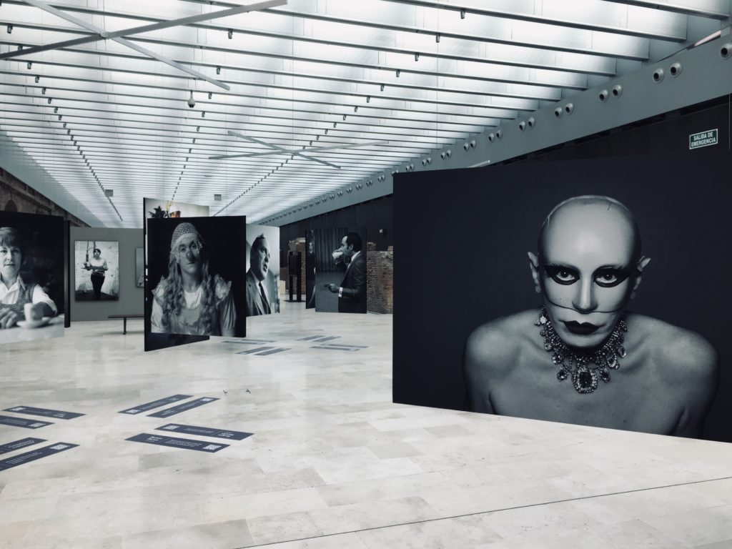 Museo Casa Rosada with a photo exhibition of famous Argentinians with a black white photo of woman with a mask