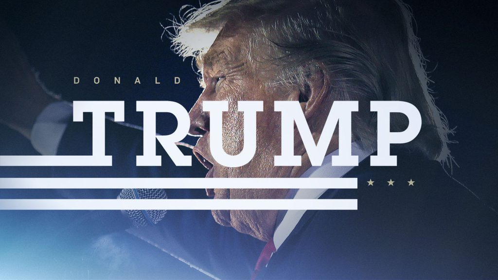 ABC News Election Campaign design with DONALD TRUMP words on top of an image of Donald Trump at a rally