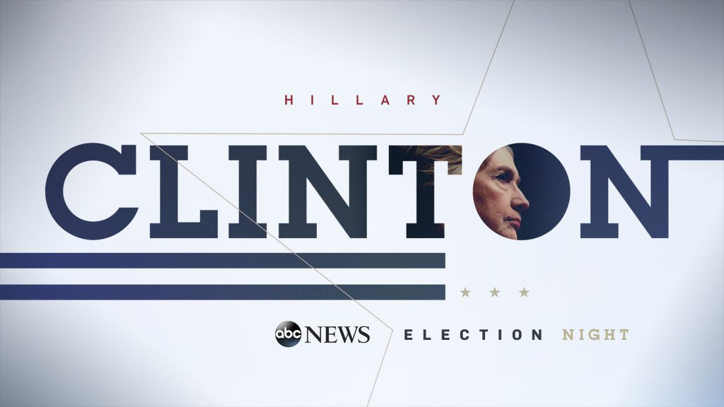 ABC News Election Campaign design with the words CLINTON and her image inside the word