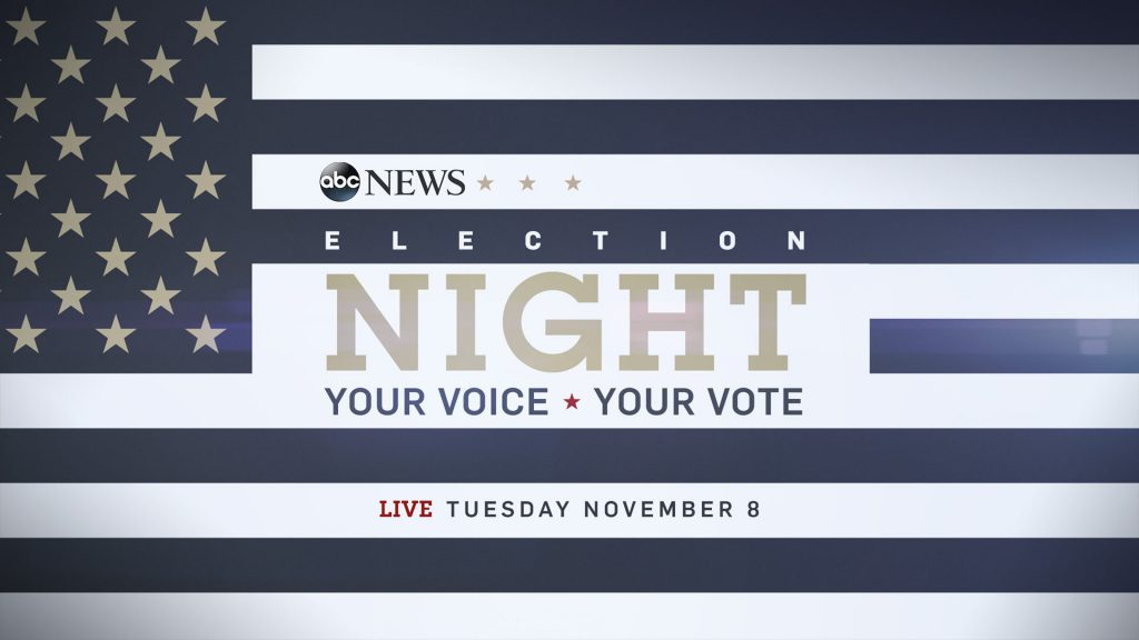 ABC News Election Campaign end page design in a stylized American Flag