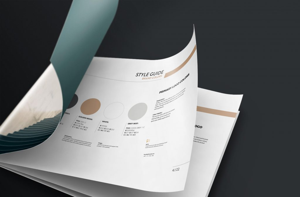 small business brand guide pamphlet design