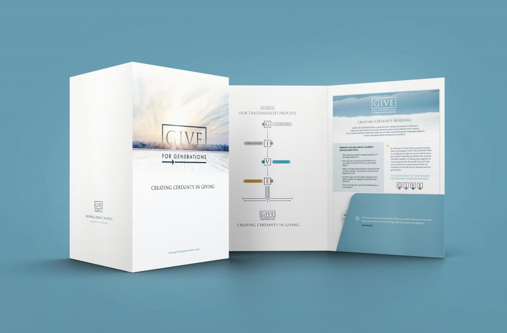 Small business marketing kit, folder design and one sheet designs with a give chart design