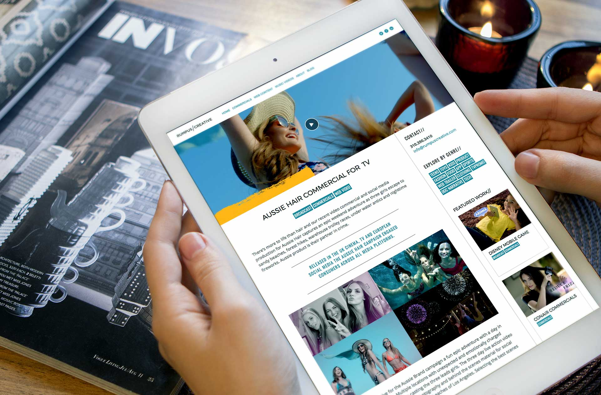 Entertainment web design and video agency responsive website design in a ipad