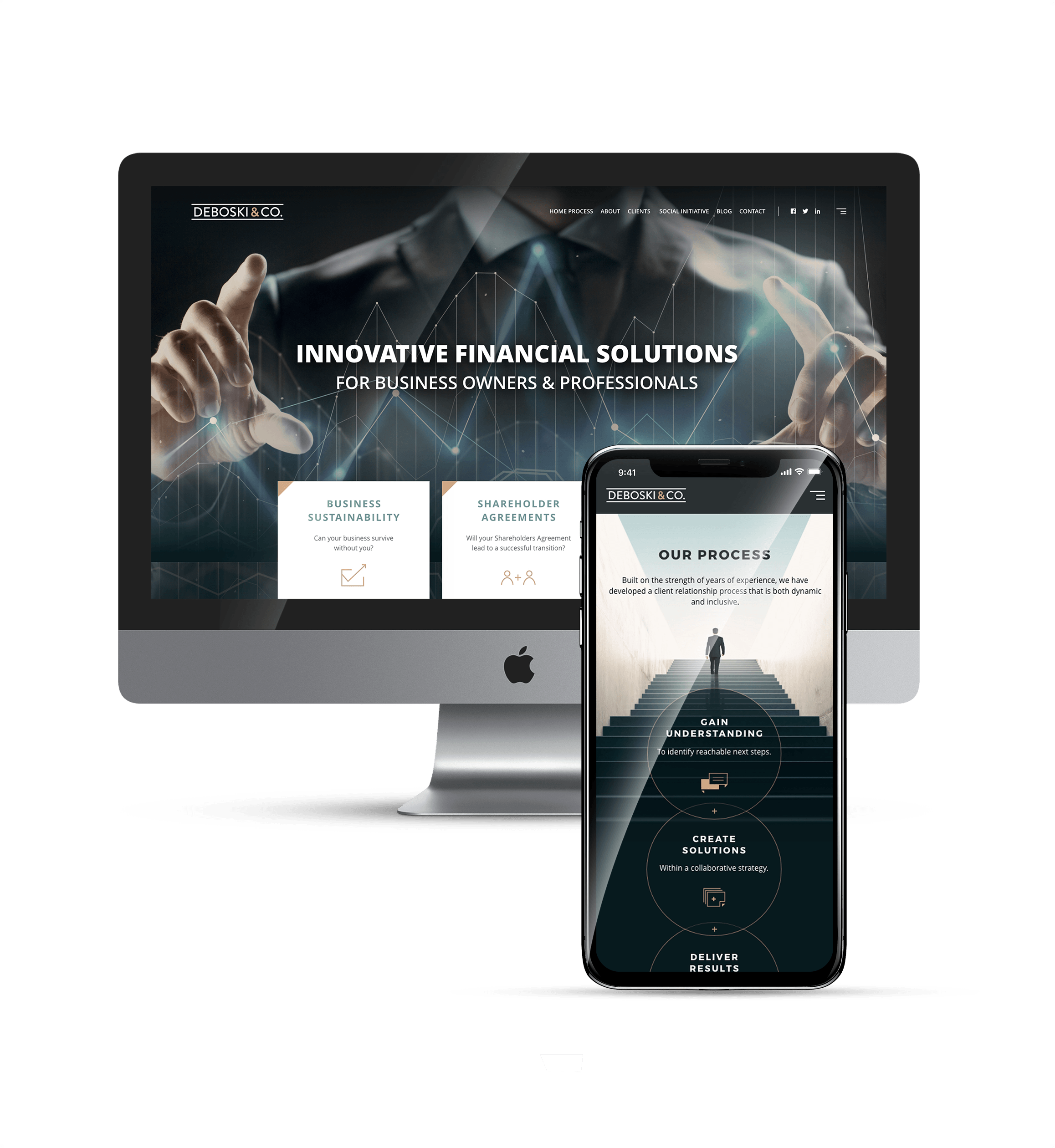 Small business responsive website design in a computer and smarphone