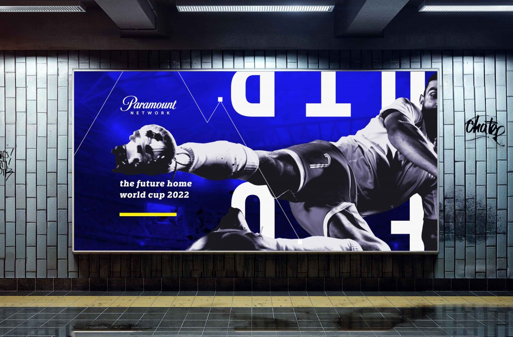 Paramount network outdoor design in blue with soccer player