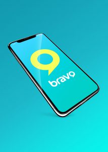 bravo tv broadcast brand logo design in a smartphone
