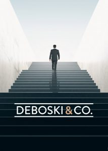 Small Business logo design for Deboski and Company over a man walking up stairs