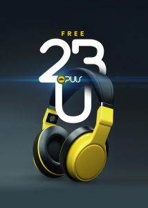 Headphone Ad Campaign design with yellow headphones and interwoven type design