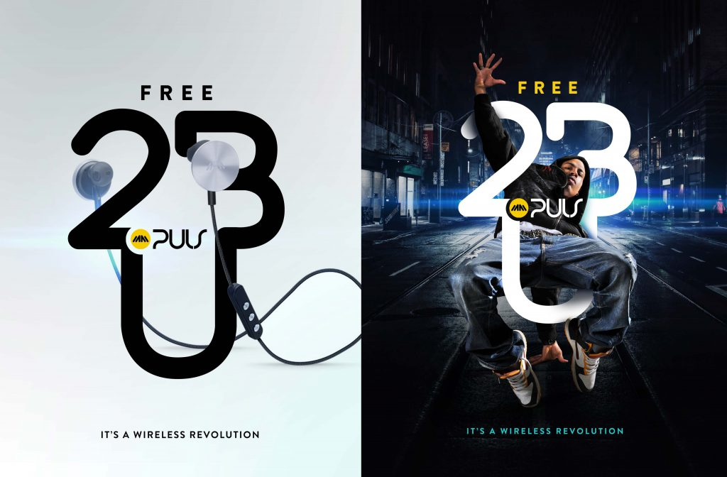 Two Ad campaign designs featuring wireless headphone ad campaign and product in the studio and in an urban street environement
