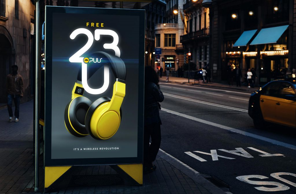 Ad Campaign design concept mocked up in a outdoor bus shelter