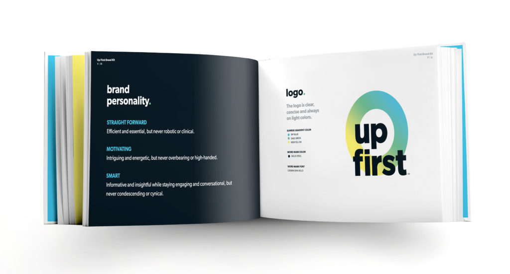 NPR Up First Podcast logo design in a brand style guide book