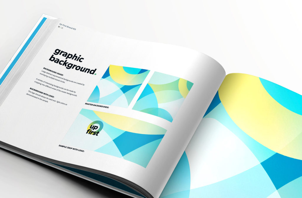 Brand pattern designs in a brand guide book