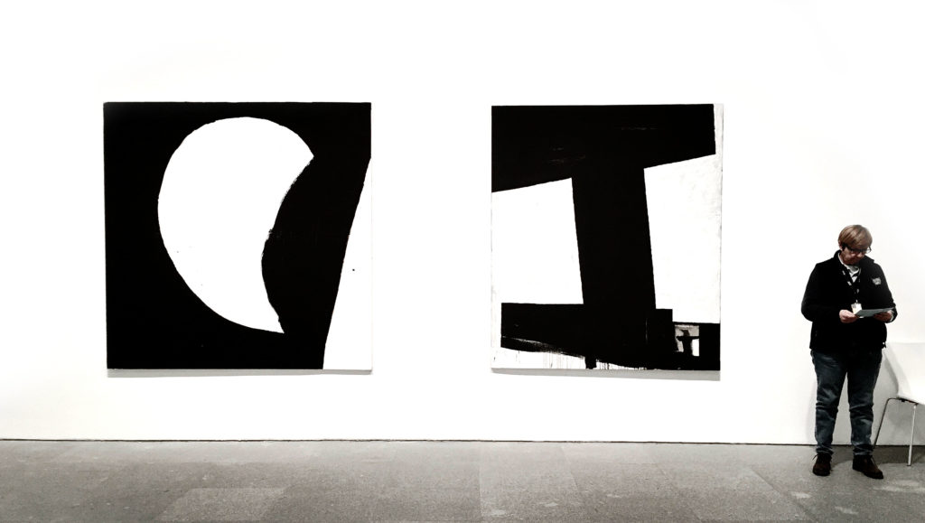 Miguel Ángel Campano minimalist black and white paintings at the Reina Sofia Museum in Madrid Spain