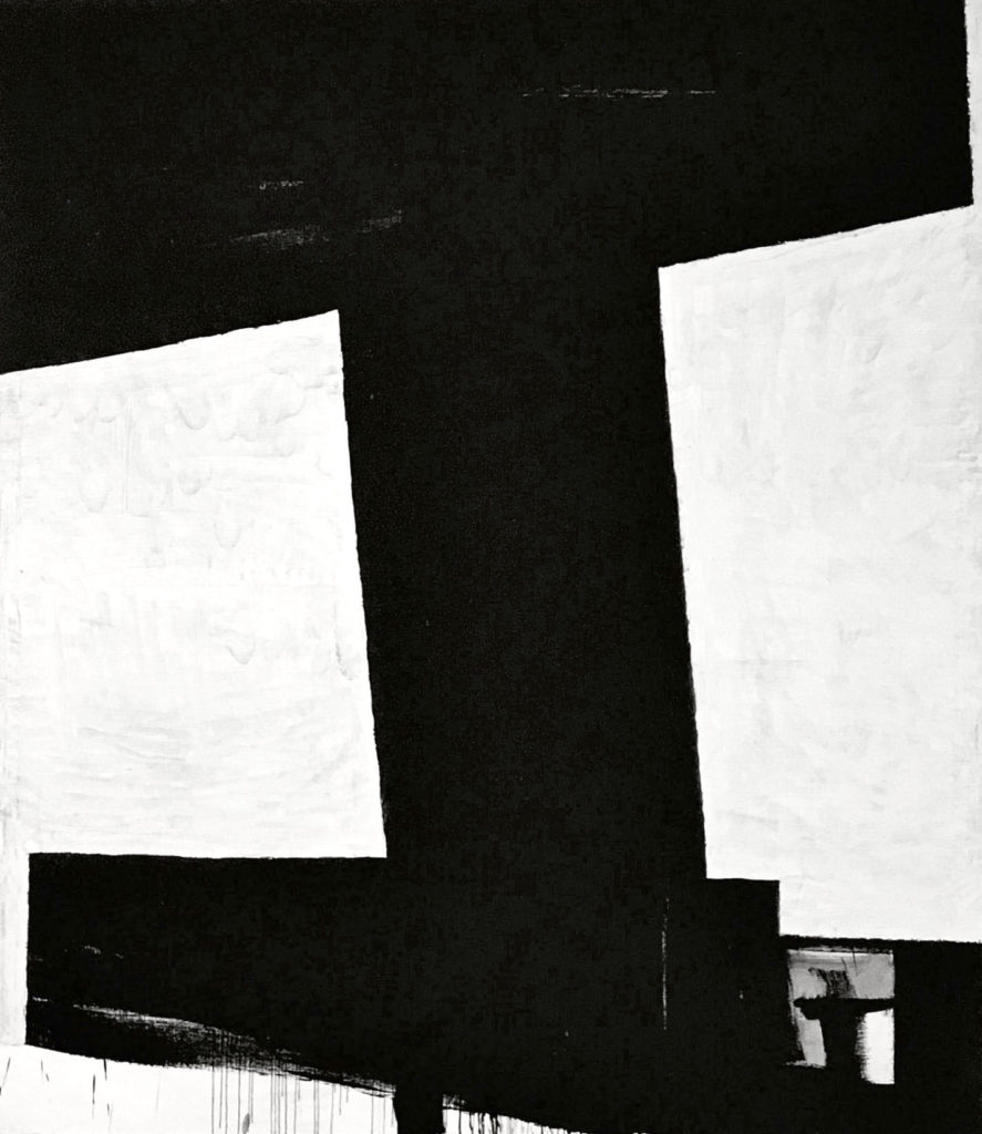 Miguel Ángel Campano minimalist black and white painting