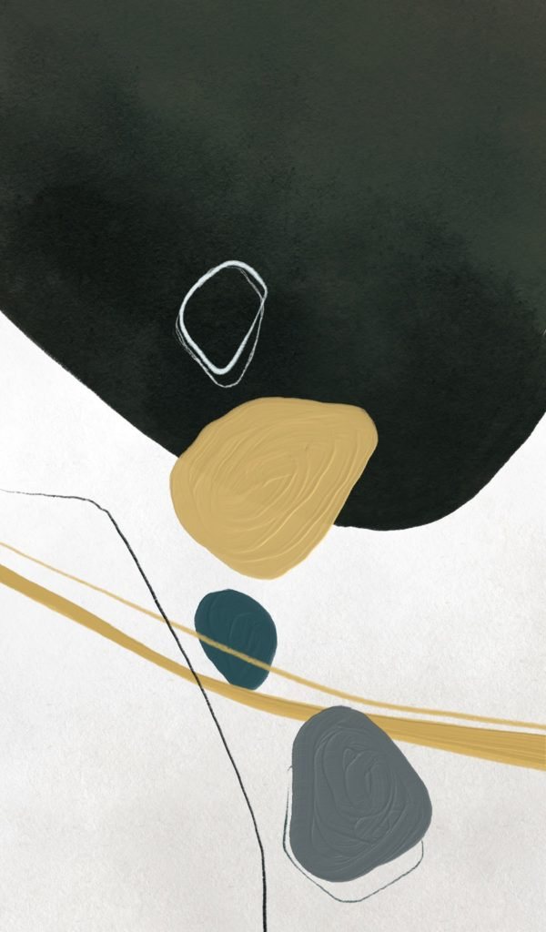 Joseph Kiely abstract art with gold and black design