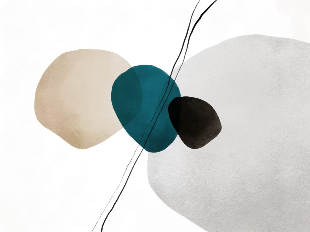 Joseph Kiely abstract art with rounded design shapes using teal and light beige colors