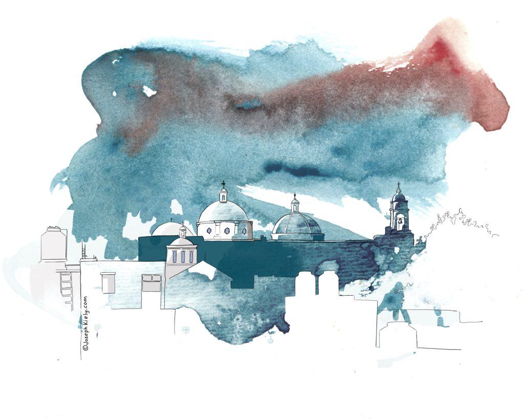 Watercolor sketch of a colonial church in Oaxaca Mexico by Joseph Kiely