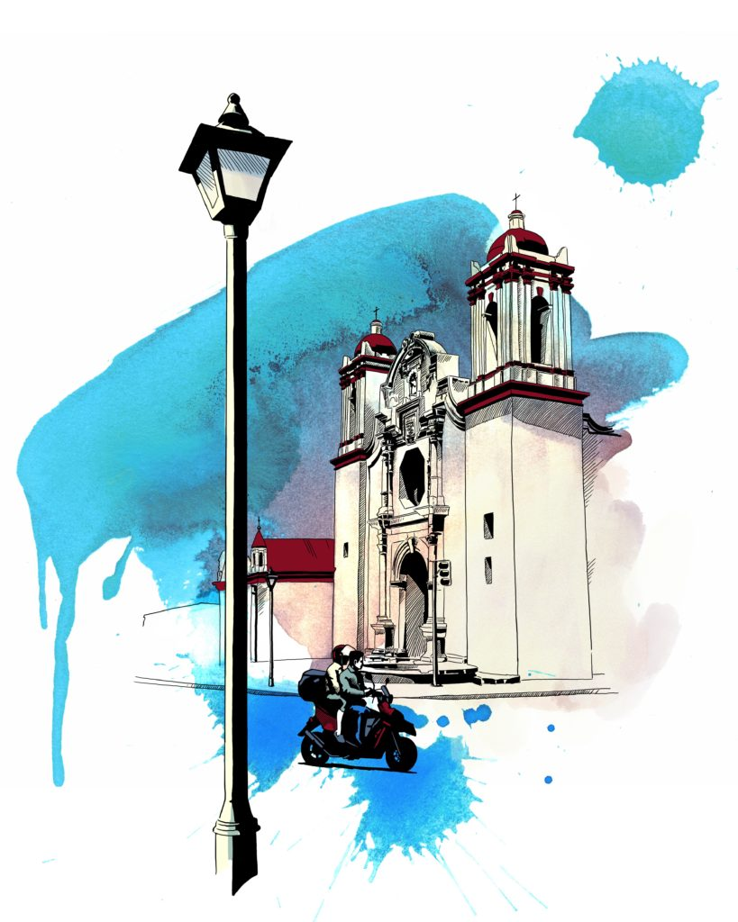 Digital drawing of a church with a light post and motorcycle on the road