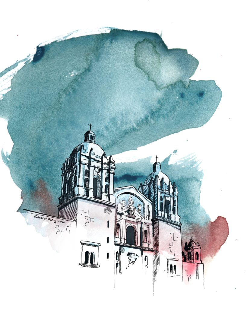 Watercolor of Santo Domingo Church in Oaxaca Mexico with blue washes and black ink lines by Joseph Kiely
