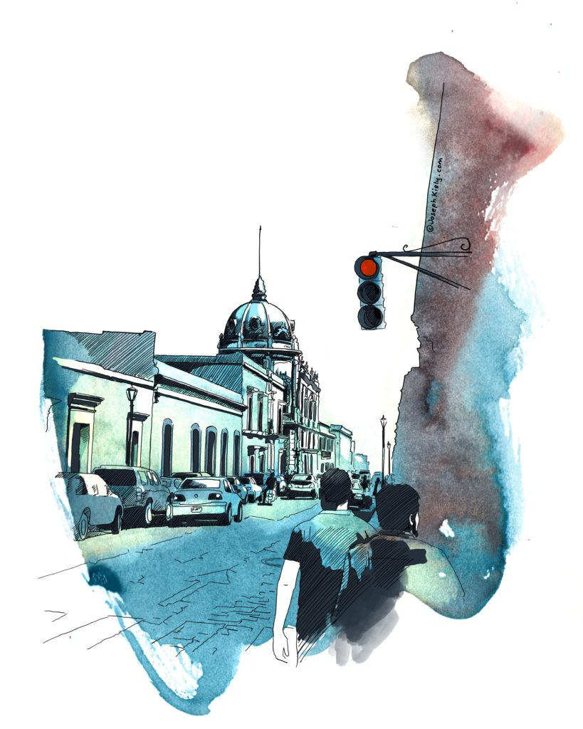 Street sketch of a street in Oaxaca with men walking, the Opera house in the distance and traffic light
