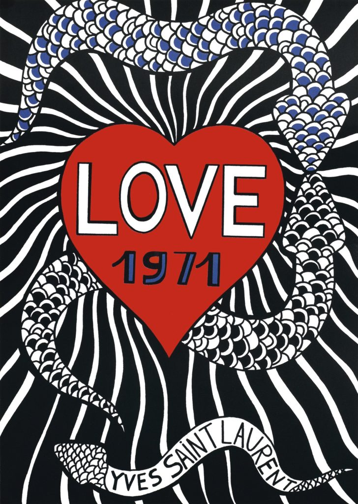 Yves Saint Laurent Love Card 1971 with two snakes