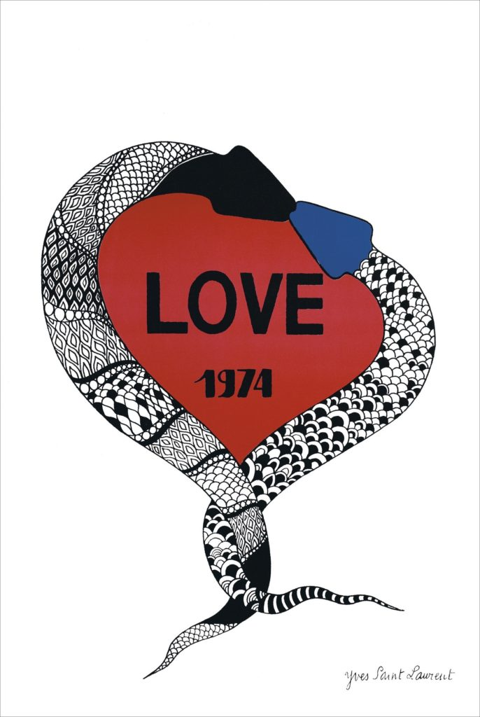 Yves Saint Laurent Love Card 1974 with two snakes and a heart