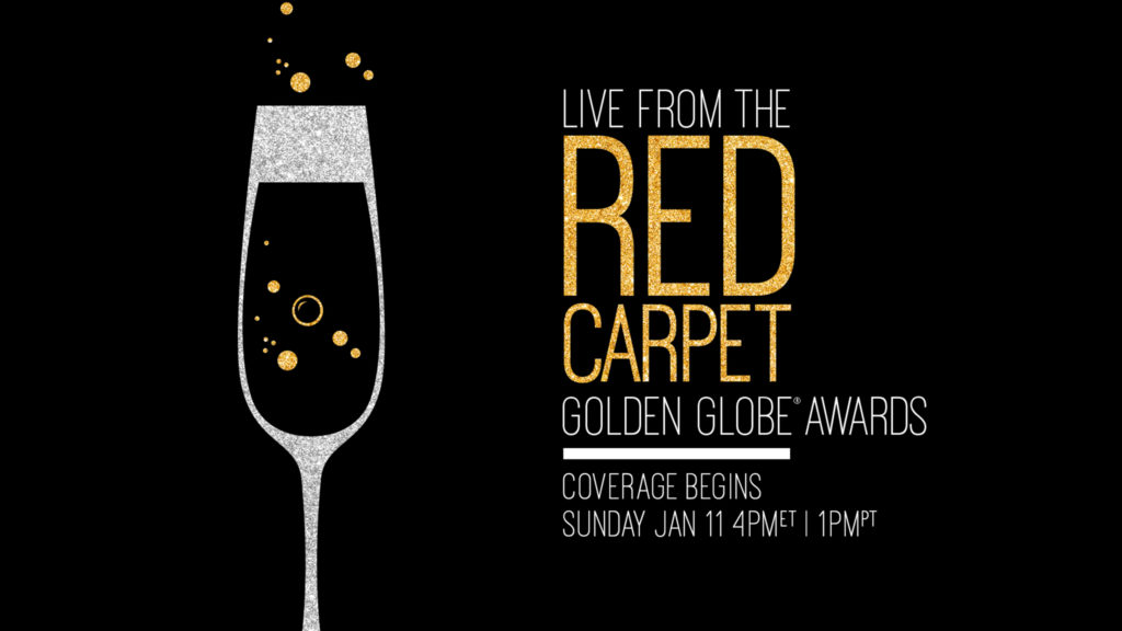 E! live from the red carpet tune in end page with a champaign glass and gold bubbles