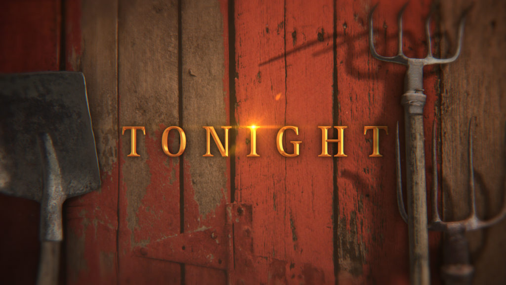 History Channel Branding title card for American Pickers with gold chiseled type on a red barn wall