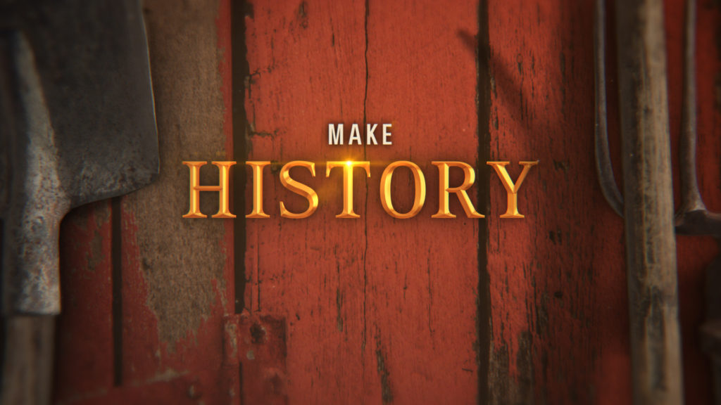 History Channel Branding title card for American Pickers with gold chiseled type on a red barn wall with farm tools