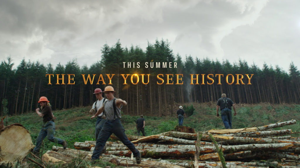 History Channel Branding for the History Ax Men program with a forest background