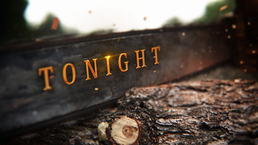 History Channel Branding for the History Ax Men program with a chain saw background