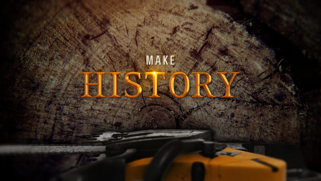 History Channel Branding for the History Ax Men program with a cut tree