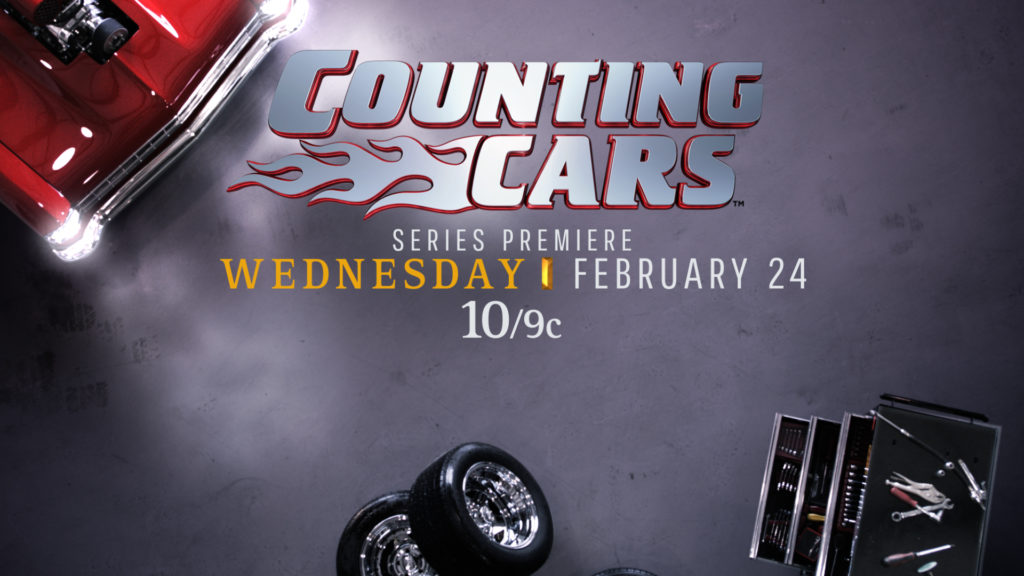 History Channel Branding for the History Counting Cars program with a mechanic shop background