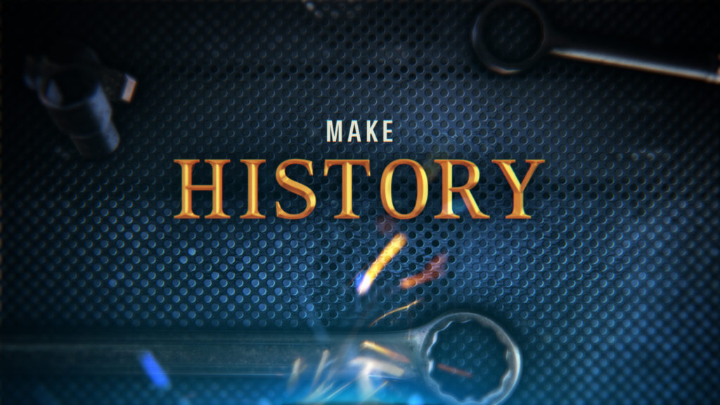 History Channel Branding for the History Counting Cars program with a tool box background and gold typography