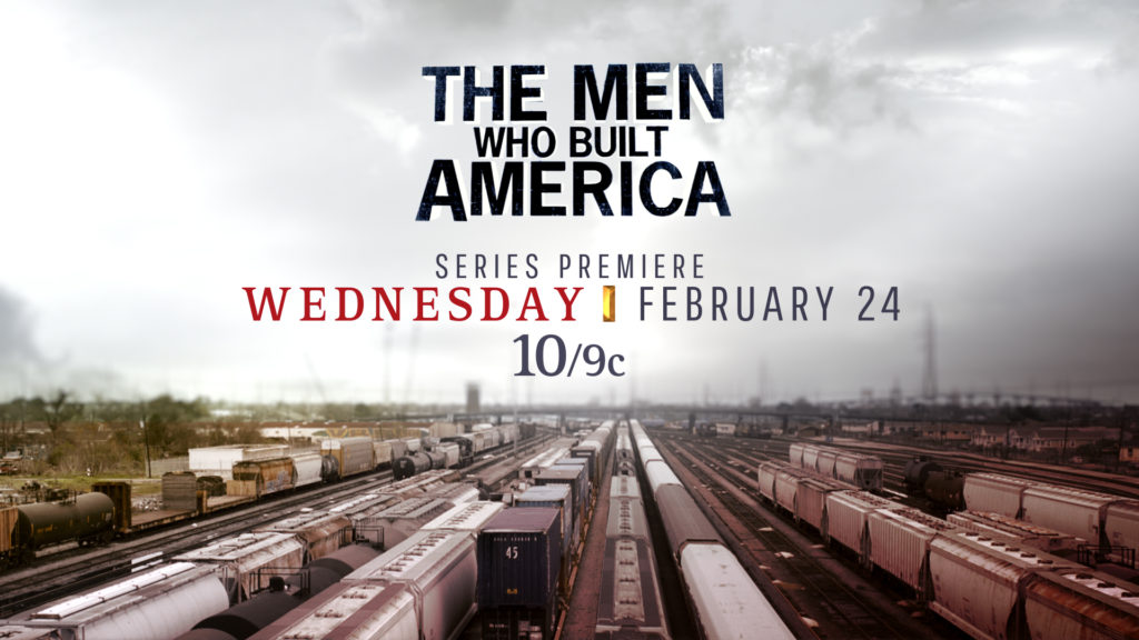 History Channel Branding tune in design with a live action background of a train yard