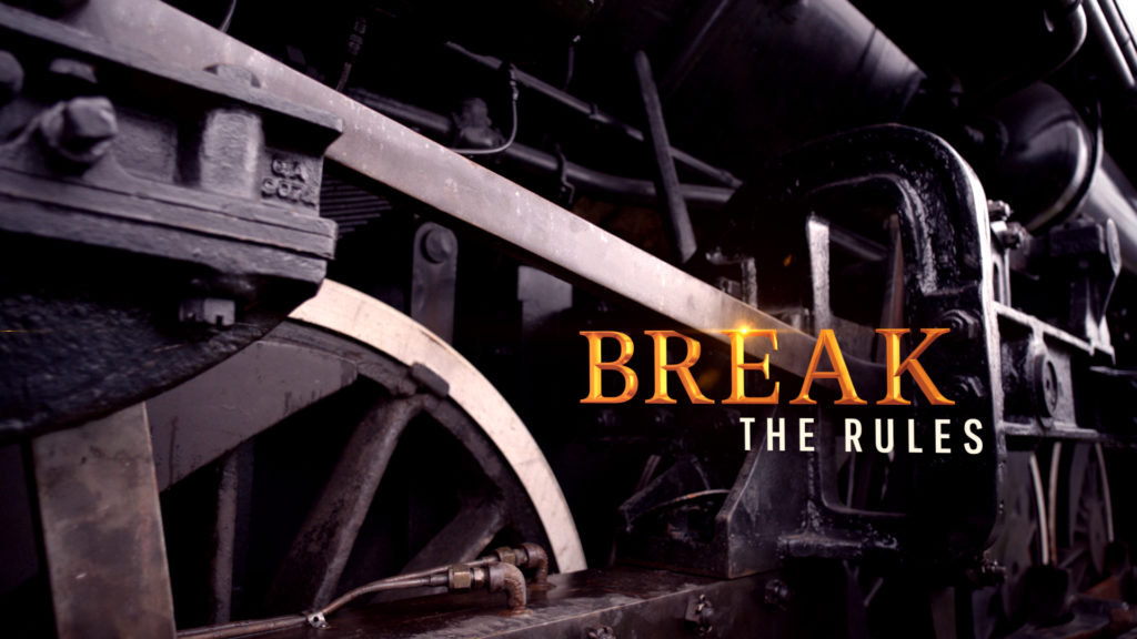 History Channel branding with an Americana steam engine and gold type