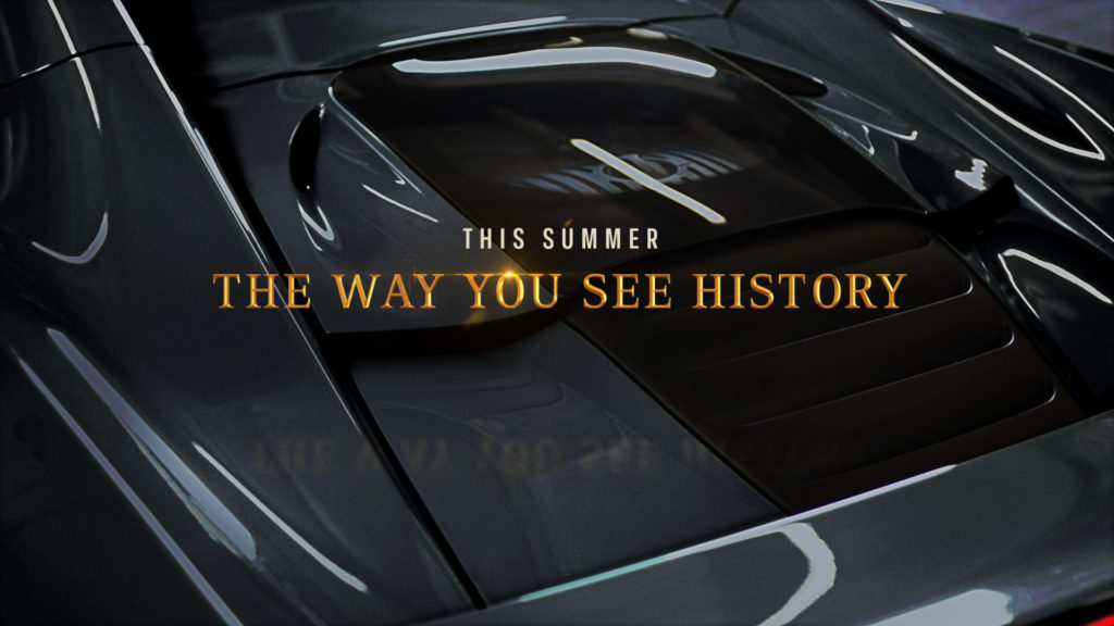 History Channel Branding for the History Counting Cars program with a car detail background and gold type