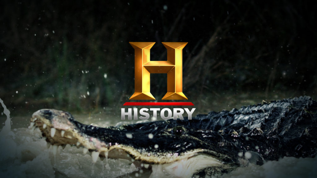 History Channel logo in front od a crocodile