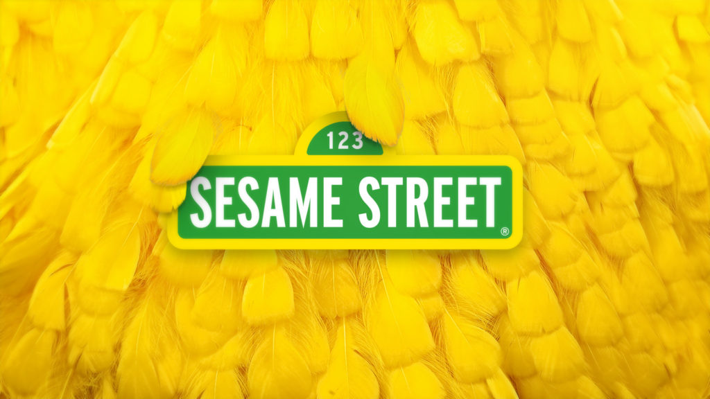 Sesame Street promo toolkit design with the feathers of Big Bird