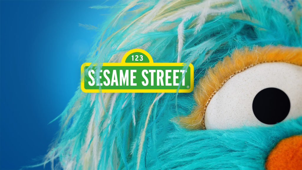 Sesame Street promo toolkit design with the Sesame Street Logo in the fur of Rosita