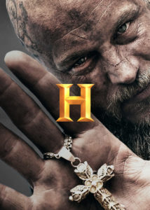History Channel Rebrand new gold logo with a History Vikings image behind